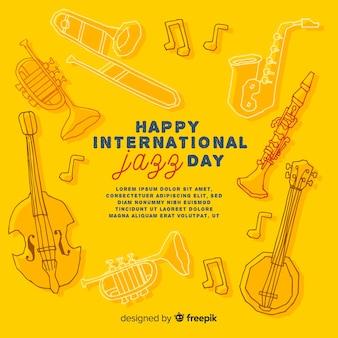 Ręcznie rysowane międzynarodowy dzień jazzu tło