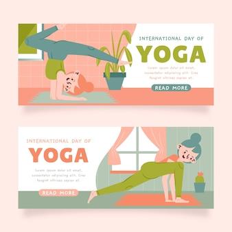 Ręcznie rysowane międzynarodowy dzień jogi zestaw banerów