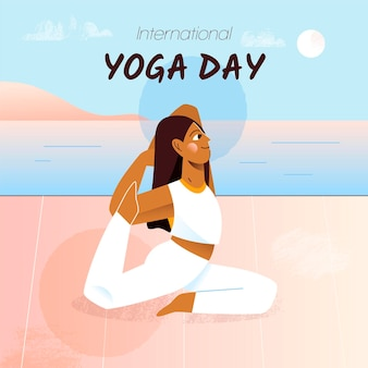 Ręcznie rysowane międzynarodowy dzień jogi