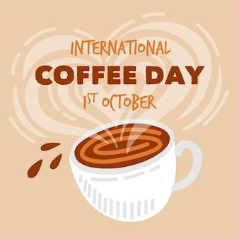 Ręcznie rysowane międzynarodowy dzień kawy ilustracja