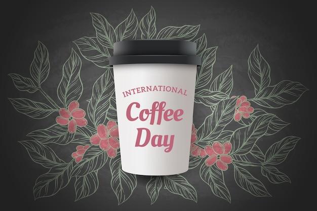 Ręcznie rysowane międzynarodowy dzień kawy