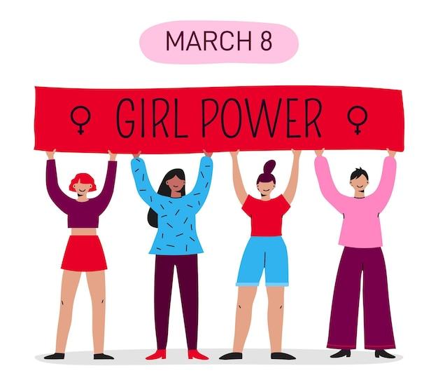Ręcznie rysowane międzynarodowy dzień kobiet