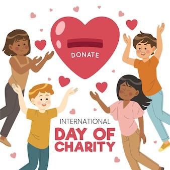 Ręcznie rysowane międzynarodowy dzień koncepcji charytatywnej
