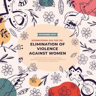 Ręcznie rysowane międzynarodowy dzień na rzecz eliminacji przemocy wobec kobiet w tle