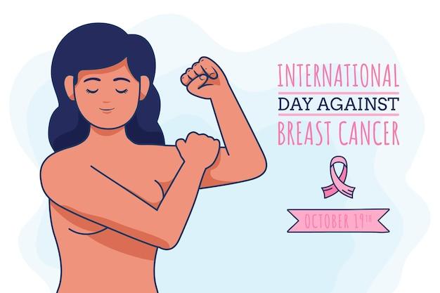 Ręcznie rysowane międzynarodowy dzień na tle raka piersi