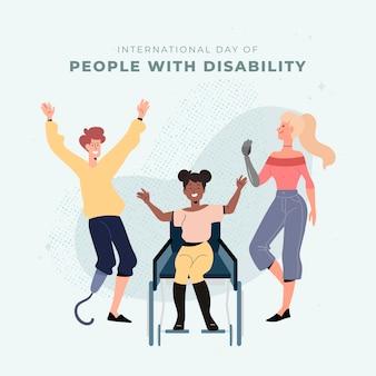 Ręcznie rysowane międzynarodowy dzień osób niepełnosprawnych