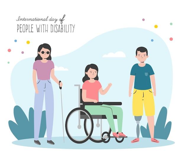 Ręcznie rysowane międzynarodowy dzień osób z niepełnosprawnością
