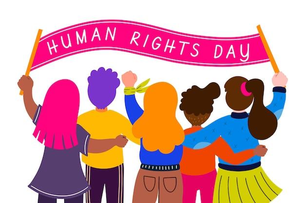 Ręcznie rysowane międzynarodowy dzień praw człowieka