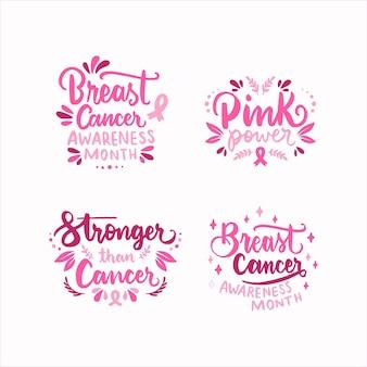 Ręcznie rysowane międzynarodowy dzień przeciwko kolekcji etykiet z napisem raka piersi