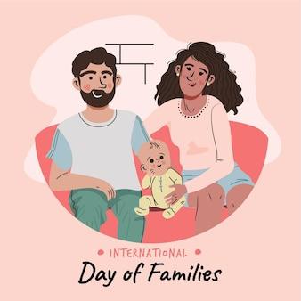 Ręcznie rysowane międzynarodowy dzień rodzin ilustracji