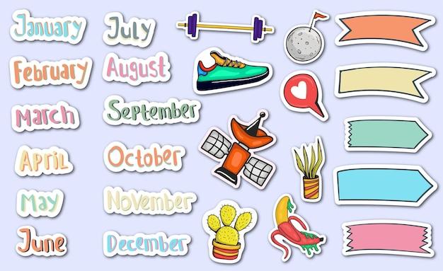 Ręcznie rysowane miesięczne naklejki planner