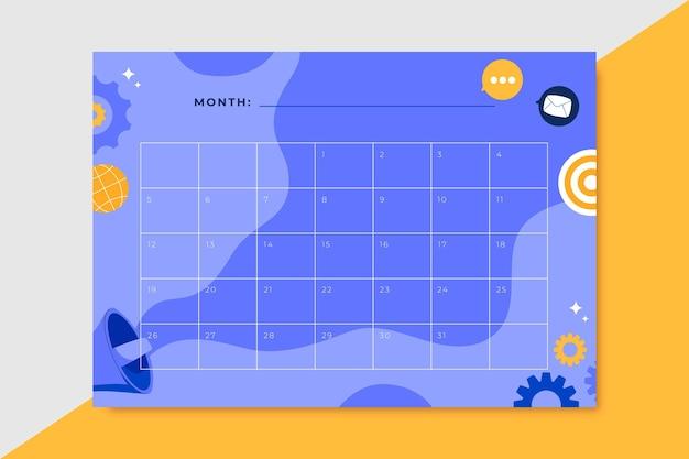 Ręcznie rysowane miesięczny kalendarz marketingowy