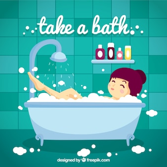 Ręcznie rysowane miła dziewczyna kąpieli