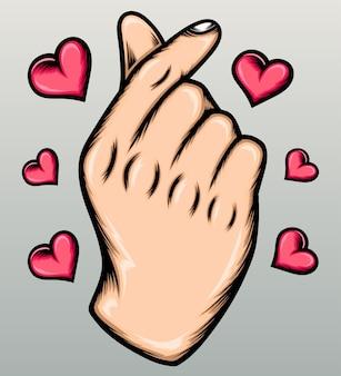 Ręcznie rysowane miłość palec.
