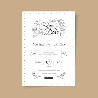 Ręcznie Rysowane Minimalistyczne Zaproszenie Na ślub Darmowych Wektorów