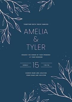 Ręcznie rysowane minimalistyczny szablon zaproszenia ślubne