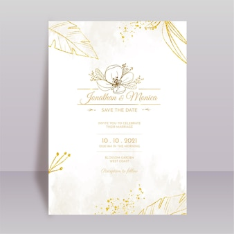Ręcznie rysowane minimalistyczny szablon zaproszenia ślubnego