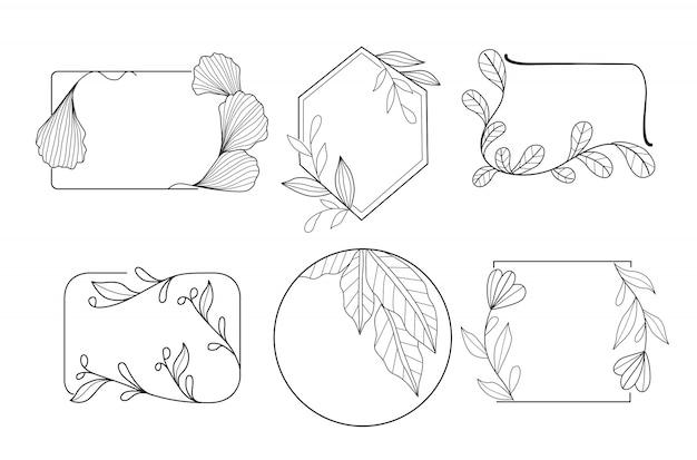 Ręcznie rysowane minimalny kwiat ramki