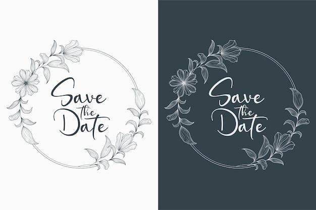 Ręcznie rysowane minimalny kwiatowy wieniec ślubny i ramka ślubna