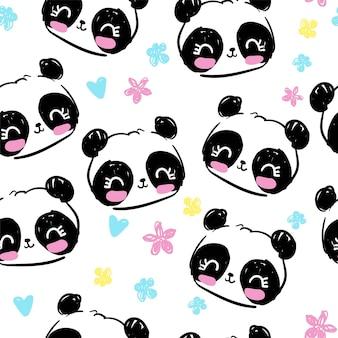 Ręcznie rysowane miś panda z kwiatami bez szwu wzór, ładny nadruk tło, ilustracja wektorowa projektowania tekstyliów dla dzieci