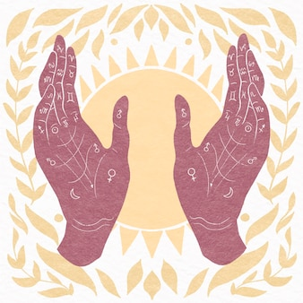 Ręcznie rysowane mistyczne pojęcie chiromancji