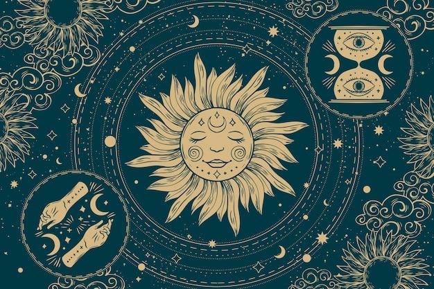 Ręcznie rysowane mistyczne tło