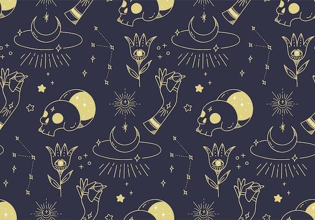 Ręcznie rysowane mistyczny wzór astronomii
