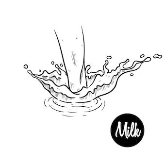 Ręcznie rysowane mleko lub plusk wody z tętnienia na białym tle