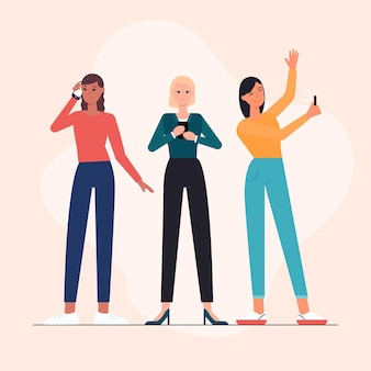 Ręcznie rysowane młodych ludzi korzystających z telefonów komórkowych