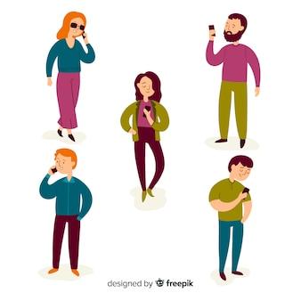 Ręcznie rysowane młodych ludzi posiadających smartfony