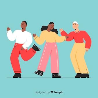 Ręcznie rysowane młodych ludzi tańczących kolekcji