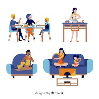 Ręcznie rysowane młodych ludzi w domu