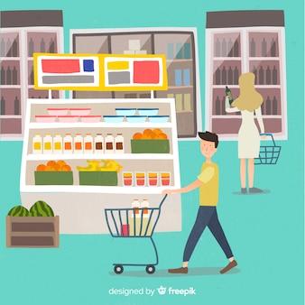 Ręcznie rysowane młodych ludzi w supermarkecie