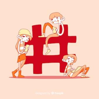 Ręcznie rysowane młodych ludzi z symbolem hashtag