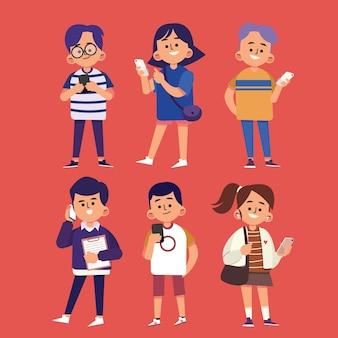 Ręcznie rysowane młodych ludzi za pomocą ilustracji smartfonów