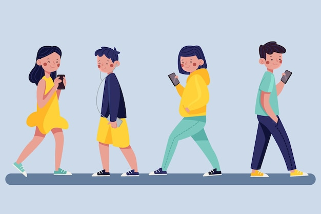 Ręcznie Rysowane Młodych Ludzi Za Pomocą Ilustracji Smartfonów Premium Wektorów