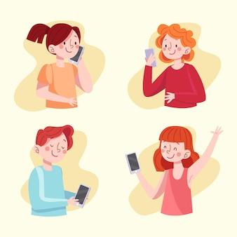 Ręcznie rysowane młodych ludzi za pomocą smartfonów