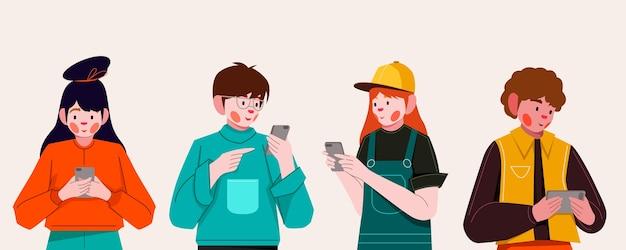 Ręcznie Rysowane Młodych Ludzi Za Pomocą Smartfonów Premium Wektorów