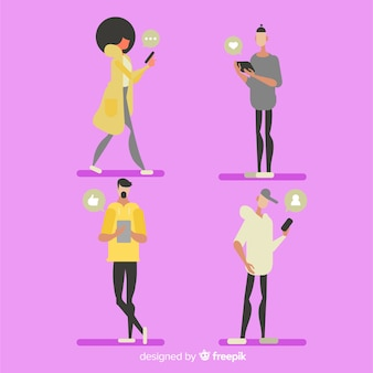Ręcznie rysowane młodych ludzi za pomocą zestawu smartphone