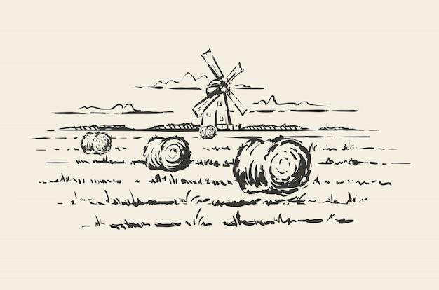 Ręcznie rysowane młyn na polu pszenicy na białym tle