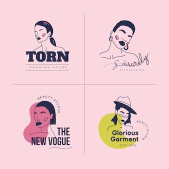 Ręcznie rysowane moda kobieta logo szablon zestaw. doodle ilustracji wektorowych stylu.