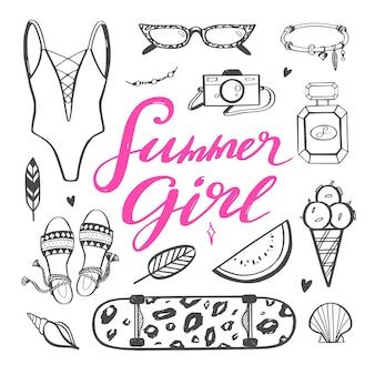 Ręcznie rysowane modna letnia kobieta moda ilustracja.