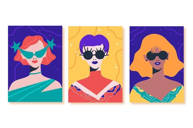 Ręcznie rysowane modne portrety mody obejmuje kolekcję