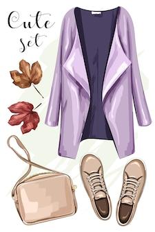 Ręcznie rysowane modne ubrania z płaszczem