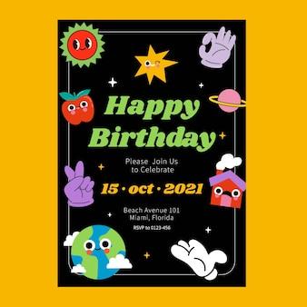 Ręcznie rysowane modne zaproszenie na urodziny z kreskówek