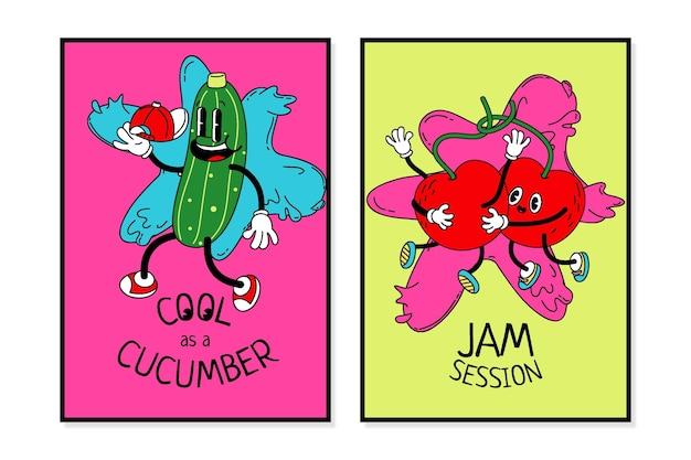 Ręcznie rysowane modny pakiet okładek z kreskówek