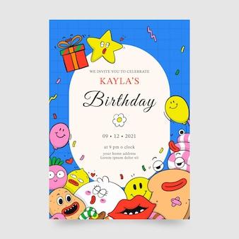 Ręcznie rysowane modny szablon zaproszenia urodzinowego z kreskówek