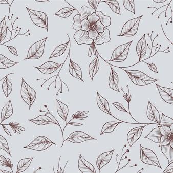 Ręcznie rysowane monochromatyczny kwiatowy wzór