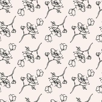 Ręcznie rysowane monochromatyczny wzór kwiatowy