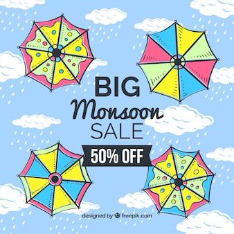 Ręcznie rysowane monsunu sezon sprzedaż składu